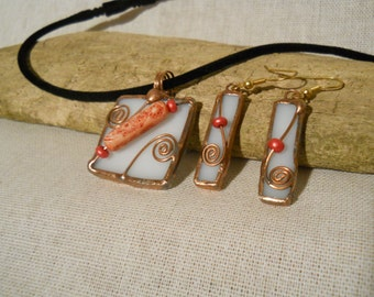 Pendant and Earring Set Stained Glass