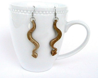 Coconut Shell Serpent Earrings, Dangle Earrings, Snake Earrings