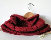 A Wine Red Hand Knitted Soft and Warm Cowl Scarf - MoxxyLand