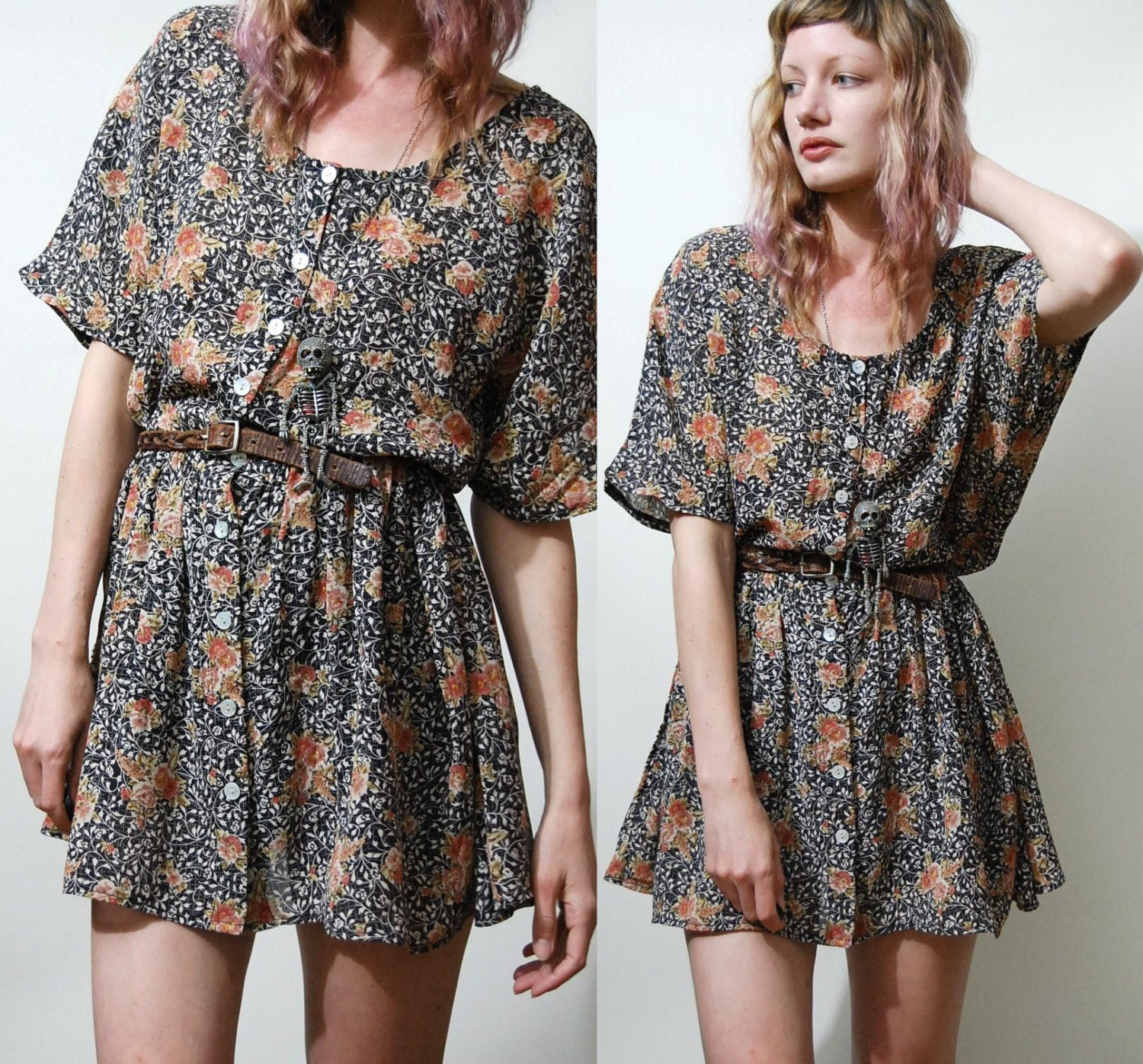 90s Vintage Babydoll Dress Dark Floral Vtg Slouchy Oversized