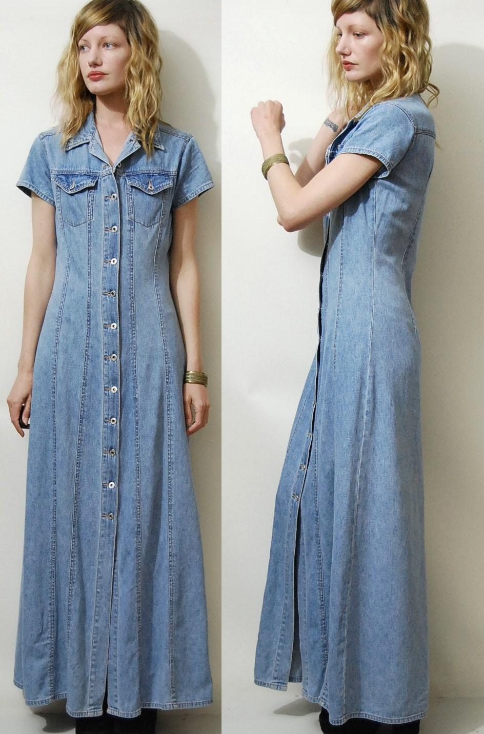90s Vintage Denim Dress Maxi Long Button Down Vtg 1990s Pale