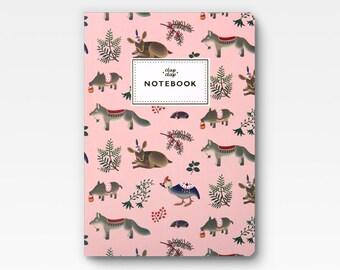 Forest Animals Notebook - Pink -