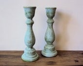 Pair of Distressed Shabby Cottage Chic Wooden Candlesticks - Blue Green Spring Home Decor - Hand Painted Candlesticks - Rustic Candle Holder