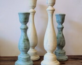Shabby Cottage Chic Wooden Candlesticks - Rustic Chic Wood Candle Holders - White & Blue Shabby Spring Decor - Hand Painted Candle Sticks