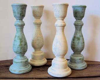 Set of 4 Shabby Cottage Chic Wooden Candlesticks - White & Blue Spring Easter Decor - Hand-distressed Candlesticks - Rustic Candle Holder