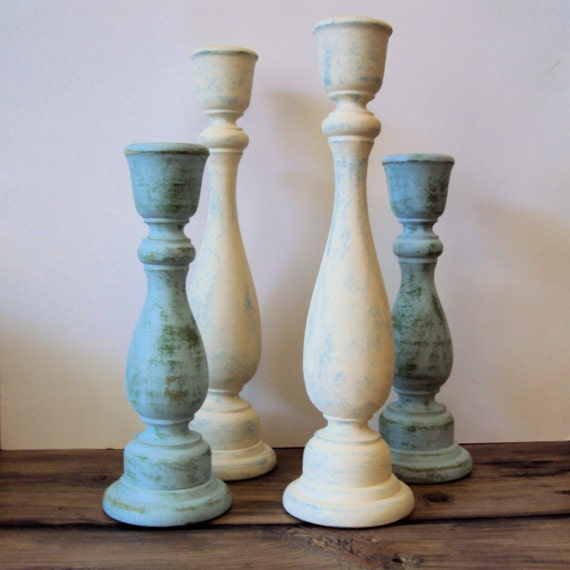 Shabby cottage chic wooden candlesticks rustic chic wood Wood candle holders