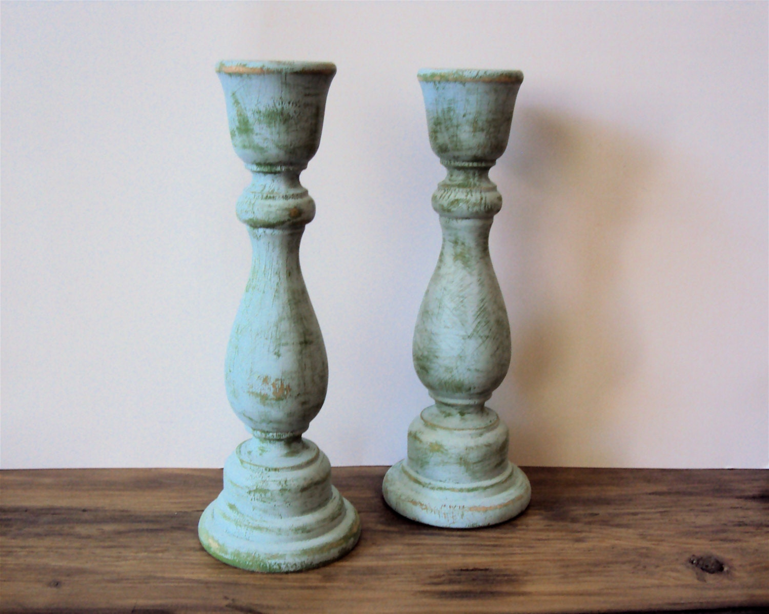 Pair of distressed shabby cottage chic wooden candlesticks Wood candle holders