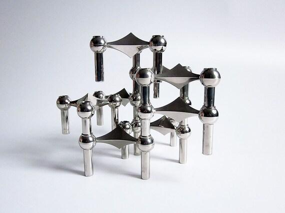 Set of 8 Mid Century modular candle holders - Nagel/Stoffi