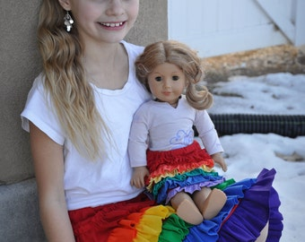 American Girl Doll Rainbow Ruffle Skirt