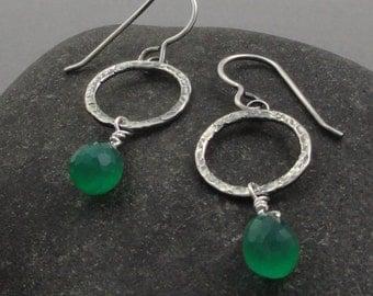 Green Onyx and Sterling Silver Earrings Ear-269