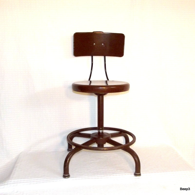 Vintage Adjusto Industrial Metal Laboratory Stool