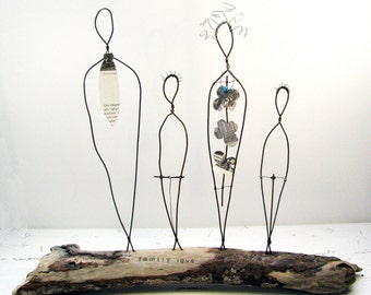 Family Portrait Wire Sculpture - Ocean Living Decor - Wire and Driftwood Mixed Media Art