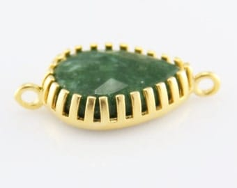Green, Teardrop Jade Connector with Gold Plated Prong Bezel Setting, 17mm,1 piece // GPC-135
