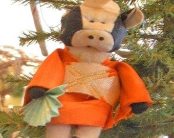 Geisha Cow Ornament.