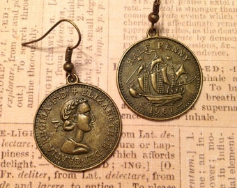 Coin Earrings Antique Brass Coin Earrings Metal Earrings