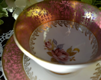 Aynsley Fine Bone China Tea Cup and Saucer, Pink Coral Gold Leaf and Vine Motif, Gold Gilt, England