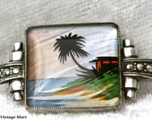 FREE SHIPPING Beautiful Vintage Palm Tree Beach Scene Sterling Silver Butterfly Wing Brooch with Marcasites