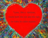 Rainbow Heart / Love Quote / Plaque Wall Art / Gift / Valentine's Day