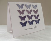 Ombre Purple Wedding Card with Butterflies on White Card Base