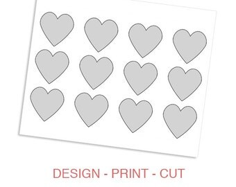 Hearts Printable Template for Wedding, Valentine's Day or Photo Collage - DIY Blank Make Your Own Kids Party Hats Template by daintzy