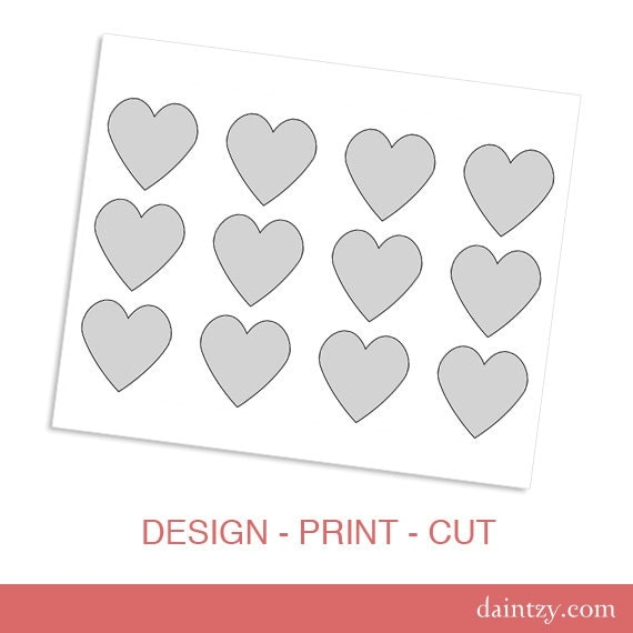 Hearts Printable Template for Wedding Valentines Day or