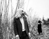 RESERVED FOR ALEJANDRO S: Hand felted seagull animal mask / head dress suitable for performance, dance or theatre