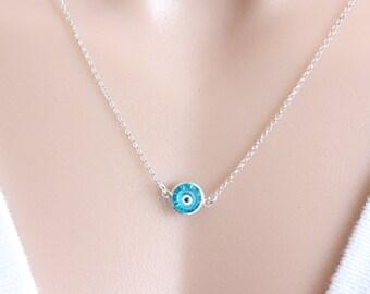 Sterling Silver Evil Eye Necklace - Celebrities Jewelry- Blue Evil Eye Necklace