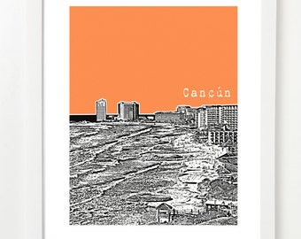 Cancun, Mexico Poster - Skyline Art Print - Cancun Wedding Gift