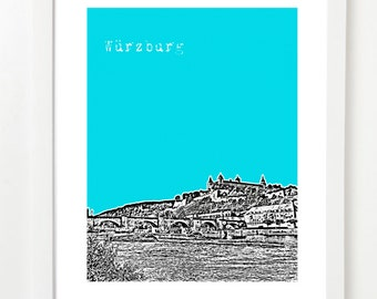 Wurzburg Poster - Wurzburg Germany City Skyline Art Print -