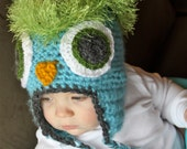 Wise Owl Hat - Light Blue and Green - 3-6 Months