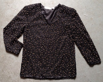 vintage 1980s beaded silk top. black & gold cocktail party blouse. retro clothing.