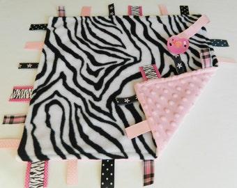 Baby Sensory Binky Blanket - Zebra - Fleece/Minky - Measures 17 x 17 - Ready to Ship