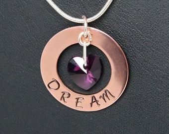 Stamped Dream Necklace - Copper and Silver Necklace, Personalised Dream Necklace, Heart Necklace, Copper Dream Necklace, Valentines