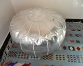 Silver color Faux leather MOROCCAN POUF :hand stitched / embroidered