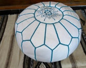 Moroccan LEATHER POUF :hand stitched / embroidered  W  Turq
