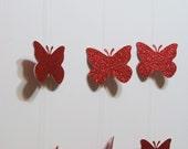Red Butterfly Garland Glitter, , Birthdays, Weddings, Showers, Parties 7 FEET