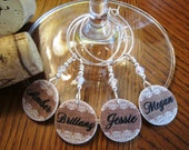 Custom Burlap and Lace Wine Charms - Set of 4