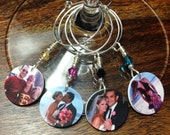 PERSONALIZED Wine Charms: Great for Gifts and Favors - Set of FourWine Glass Charms