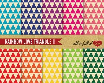 TRIANGLE Pattern Digital Scrapbooking Paper Pack RAINBOW Printable Background Digital Download Personal & Commercial use graphics