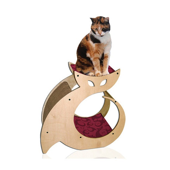 Cat Shaped Scratching Post with Cat Bed & Perch