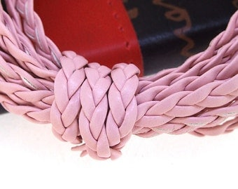 Handfasting Cord Leather Cord 5mm -- 3 Yards( 9ft ) -- Pink Leather Cord The hand-braided cord weave Cord