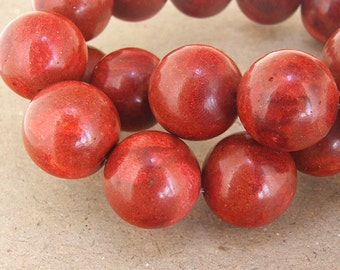 "strand Big Round Red Spong Coral Beads----20mm ---- gemstone beads--- 15 1/2"" in length"