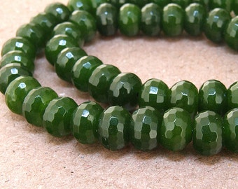 """strand Faceted HeiShi Olive  Jade Beads ----- 5mmx 8mm ----- about 78Pieces ----- gemstone beads--- 15"""" in length"""
