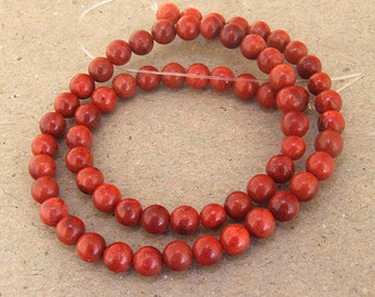 Red Sponge Coral Beads --- 6mm --- Round Ball beads --- 64 Beads --- Hole 1mm --- 15.5 inch Full strand