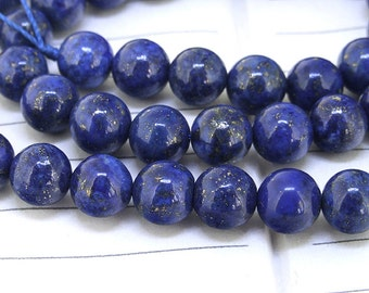 "One Full Strand ---- Charm Round Blue lapis lazuli Gemstone Beads---- 8mm ----about 48Pieces  gemstone beads---- 15.5"" in length"