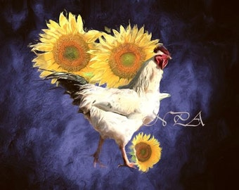 Old World Style Rooster & Sunflowers Matted Picture Kitchen Art A384