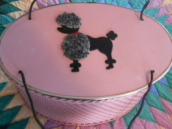 Vintage 50s Princess Pink Wicker Sewing Basket Box Purse With