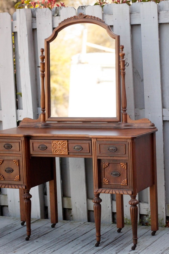 Items Similar To Antique Wooden Carved Vanity With Mirror