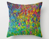 DECORATIVE THROW PILLOW Cover 16x16 18x18 20x20 Colorful Abstract Painting Art Ocean Waves Beach Bird Feathers Rainbow Teal Blue Magenta