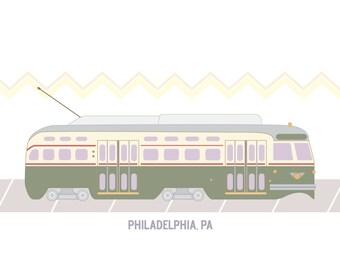 Philadelphia Classic Trolley Print 8.5'' x 11''
